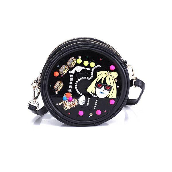 """Girl Head Jewelery"" Black Single Shoulder Bag (3,590 PHP) found on Polyvore"