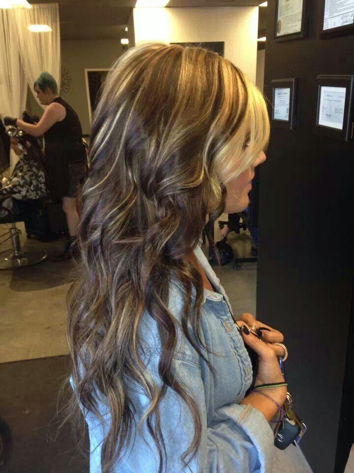 Blonde Chunks Dark Hair Hair Styles