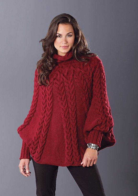 Cabled Poncho | Poncho knitting patterns, Ladies poncho ...