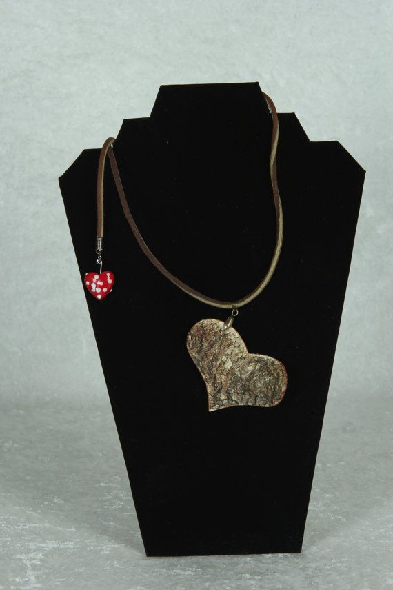 Birch Bark Heart Necklace for her for mom (STK H1)