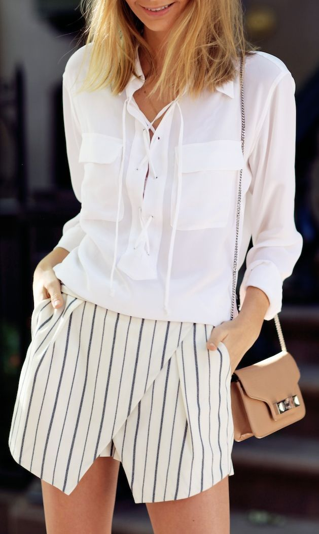 930ca6505b Equipment White Front Criss Cross Lace Up Blouse by Tuula