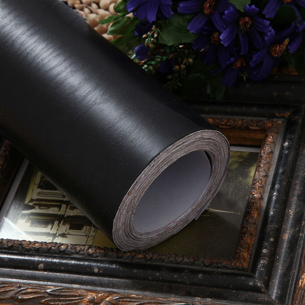 Black Wood Grain Self Adhesive Furniture Floor Vinyl