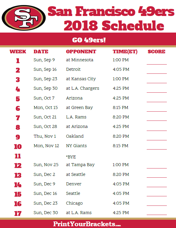 Forty Niners Schedule 2019 Printable 2018 San Francisco 49ers Football Schedule   Printable