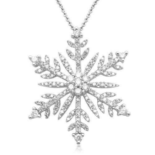Amazon.com: Sterling Silver Diamond Snow Flakes Pendant