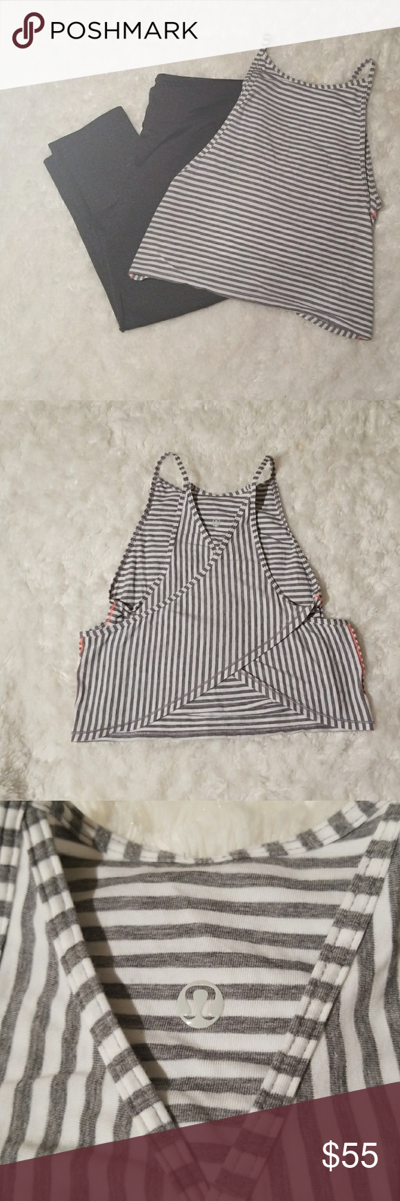 "Lululemon Vita Loca Tank top Lululemon Athletica Vita loca tank, no size dot or rip tag (please refer to measurements) classic stripe white/Heather gray with Neon stitchig. Crop lenght with criss cross detail. Please feel free to ask questions prior to pur chasing. Tha ks for looking. Measurements approx: 17"" strap to bottom hem, 12"" bust,  17"" waist. lululemon athletica Tops"