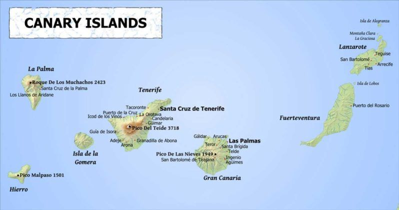 Interactive Image Of The Canaryislands Map Which Includes Tenerife Fuerteventura Grancanaria And Lanzarote Canary Islands Tenerife Island Map