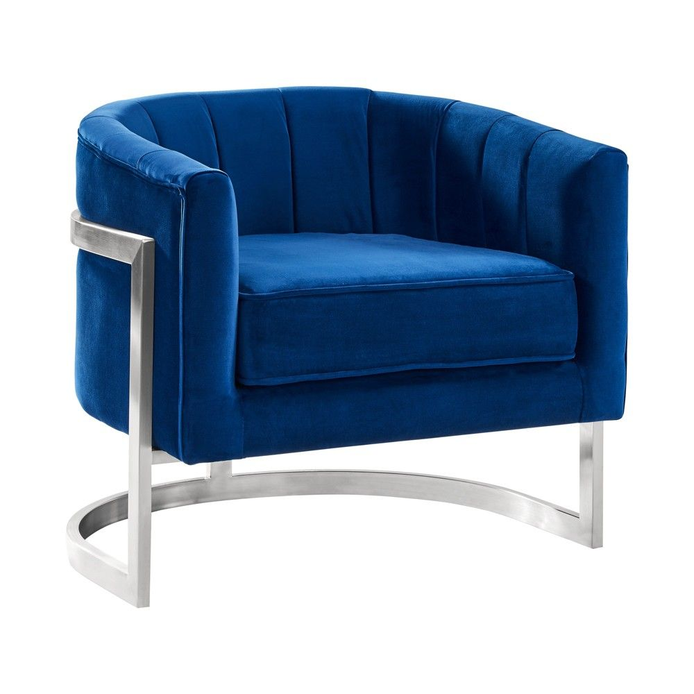 Armen living kamila contemporary accent chair velvet blue
