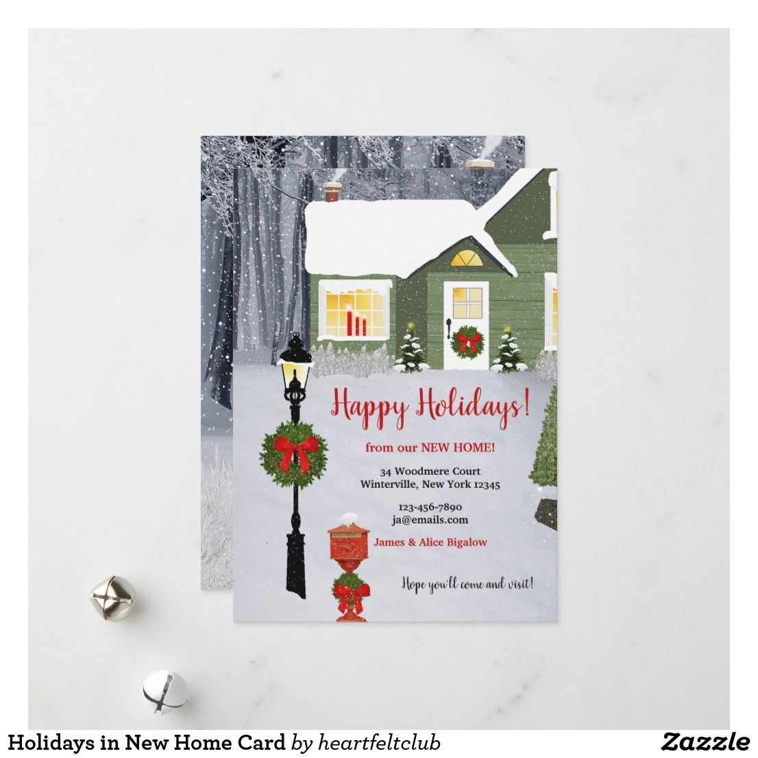 Holidays In New Home Card Zazzle Com Holiday Design Card Christmas Holiday Cards Holiday Greetings