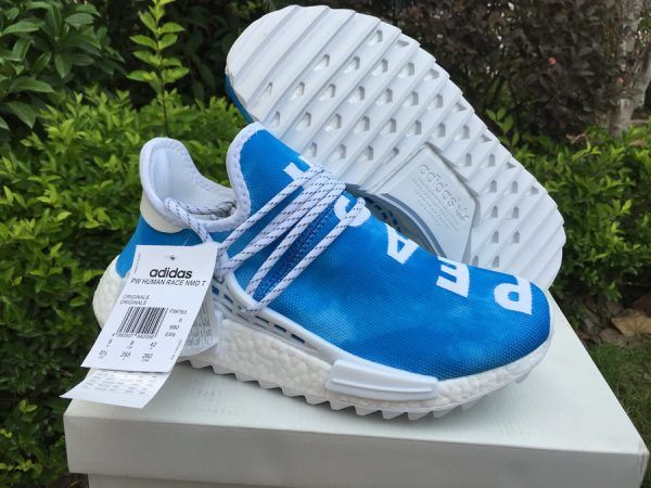 8f9d6f907 2018 Pharrell x adidas NMD Hu China Exclusive Peace Blue For Sale ...