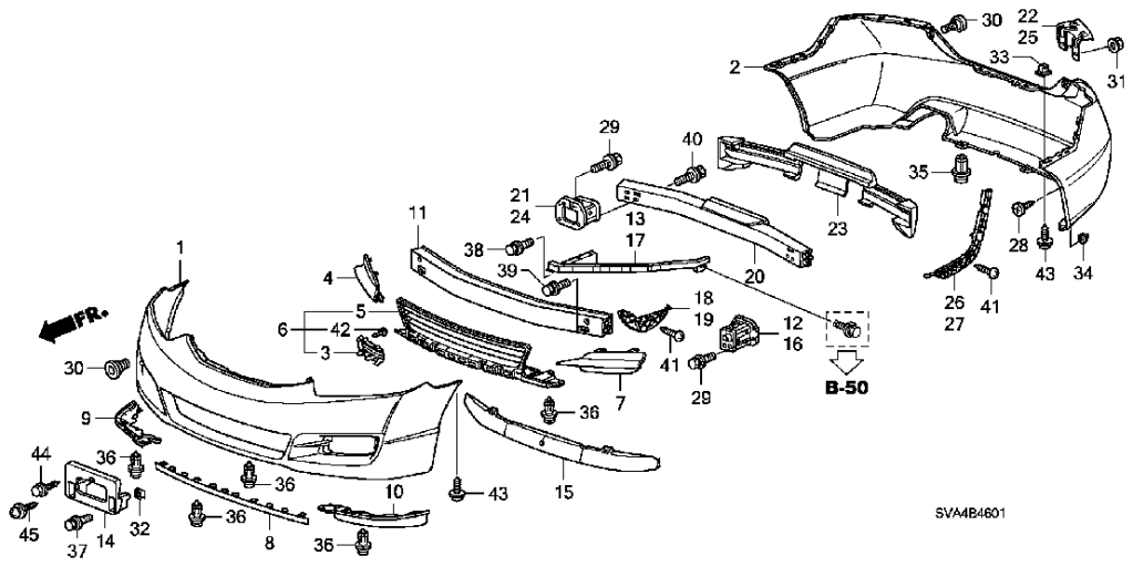 2013 honda accord front bumper diagram
