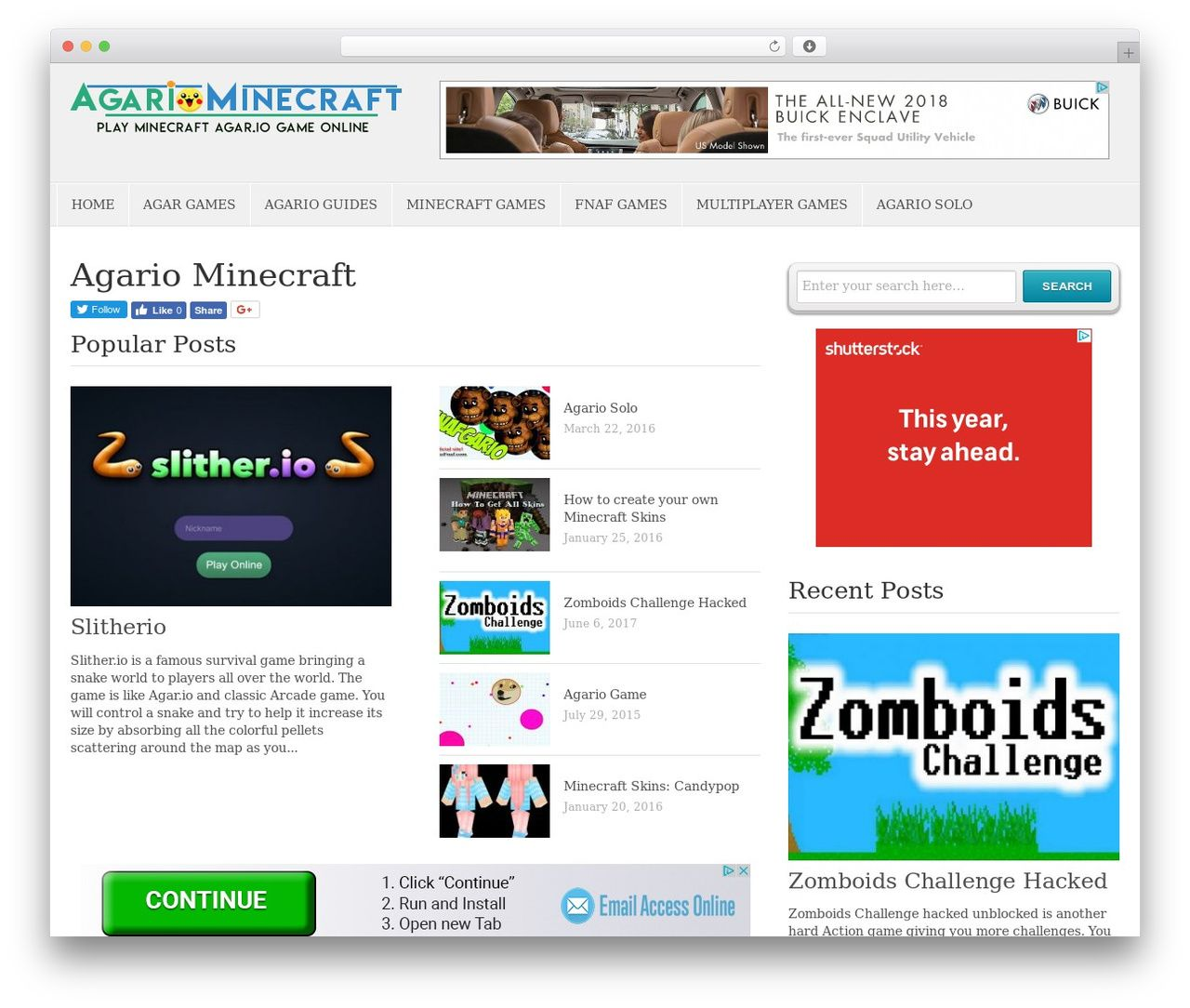 WordPress Website Template Agariominecraft
