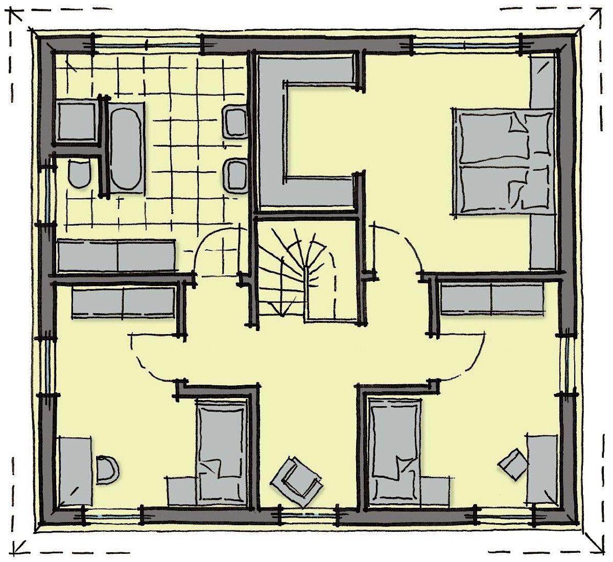 Fertighaus Stadtvilla Grundriss Obergeschoss mit Walmdach
