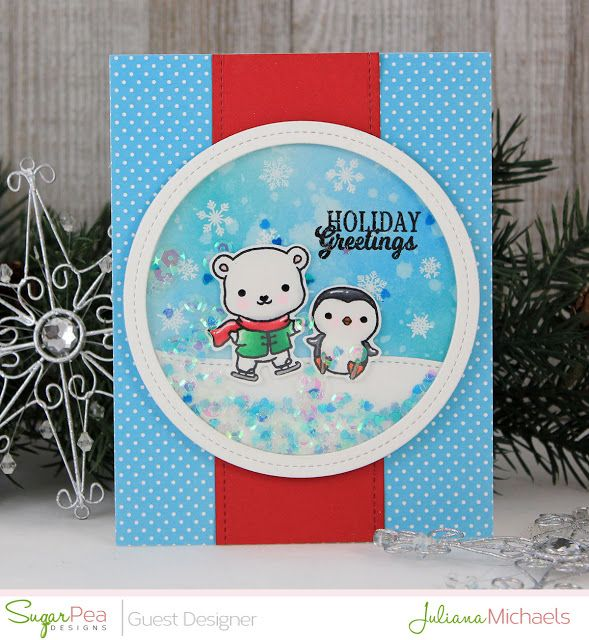 Holiday greetings christmas shaker card by juliana michaels holiday greetings christmas shaker card by juliana michaels featuring eskimo kisses stamp set by sugar pea m4hsunfo