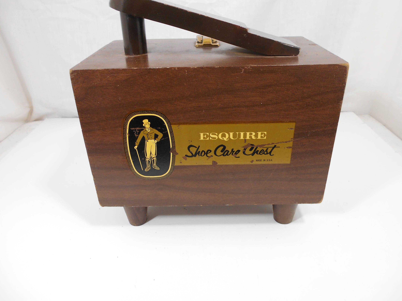 Vintage Esquire Shoe Care Chest Original Wooden Shoe Shine Box