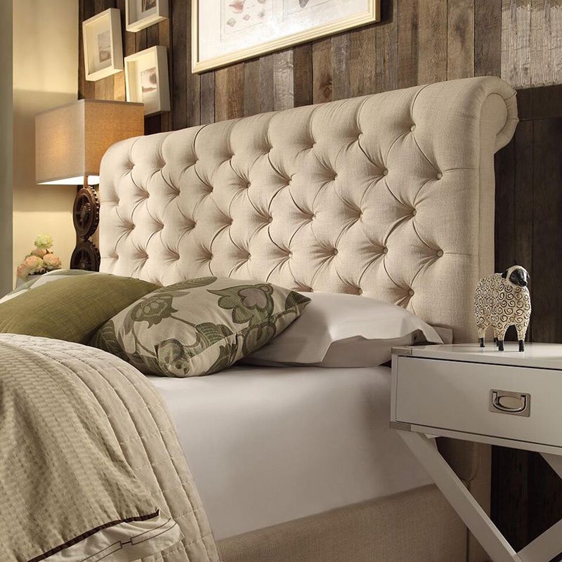 TRIBECCA HOME Knightsbridge Rolled Top Tufted Chesterfield Queen