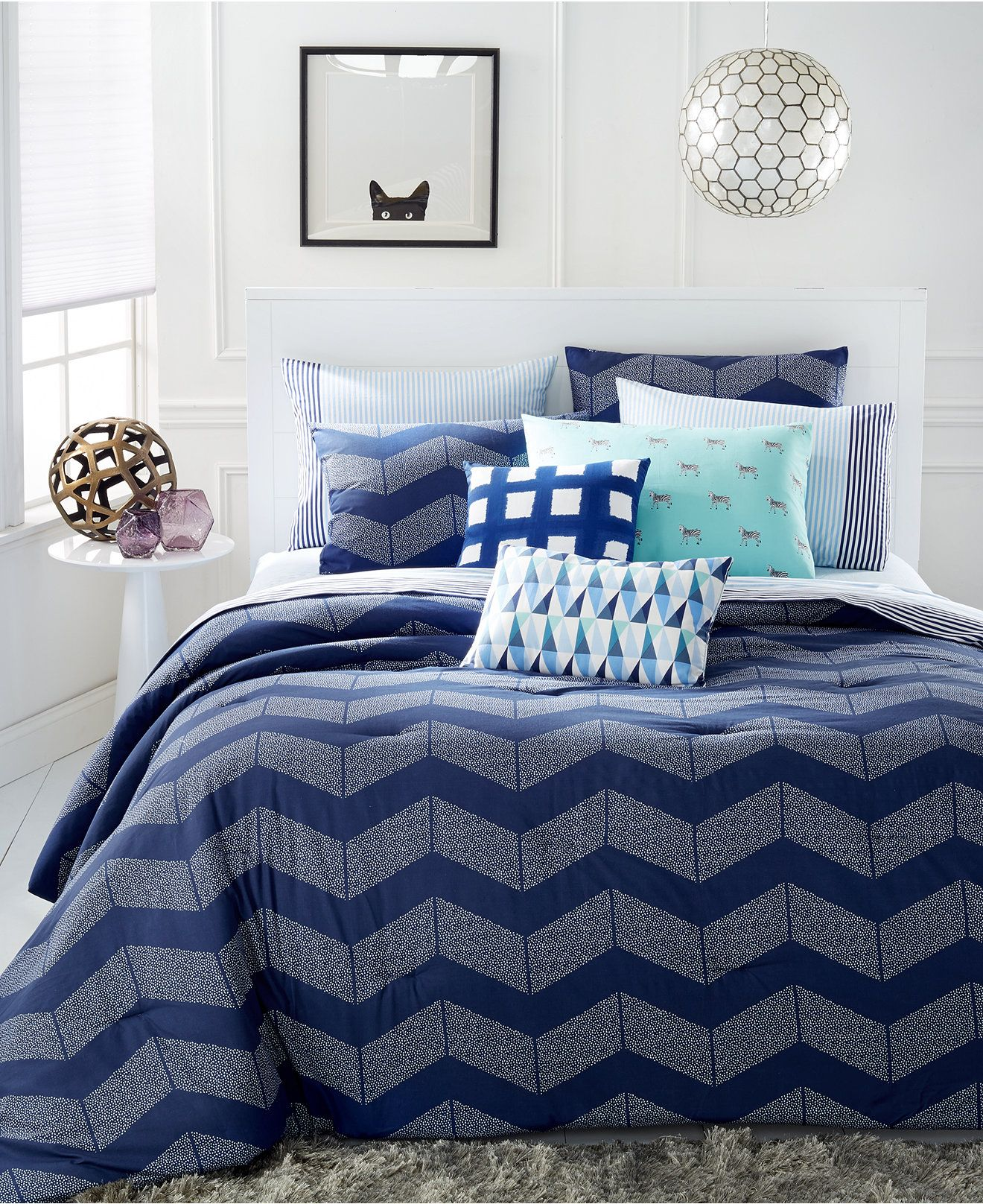 Martha Stewart Whim Collection Spot Chevron 5-Pc. Comforter Sets - Bed in a Bag - Bed & Bath - Macy's
