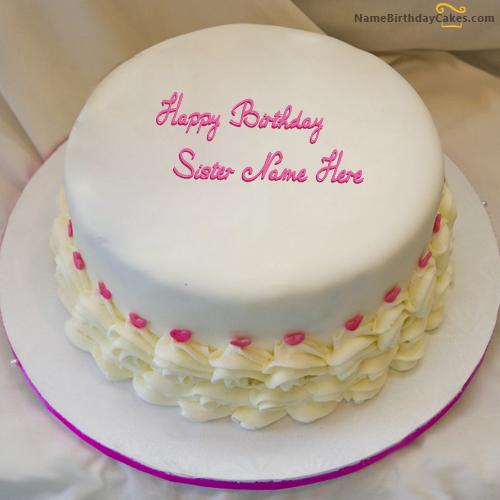Write name on Icecream Birthday Cake For Sister Happy