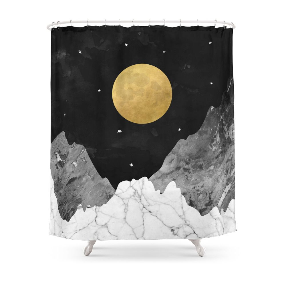 Moon And Stars Shower Curtain By Kookiepixel Curtains Watercolor Shower Curtain Tapestry