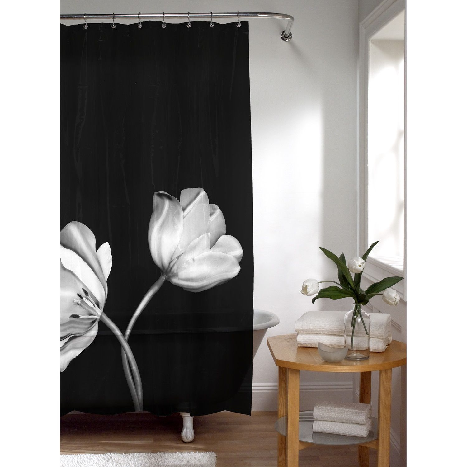 Maytex Tulip Photoreal Peva Vinyl Shower Curtain Cortinas De