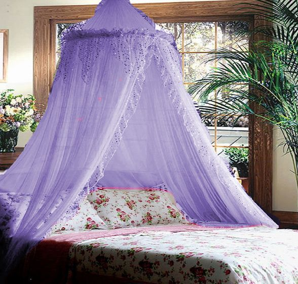 Purple Lilac Jeweled Princess Bed Canopy Mosquito Net New