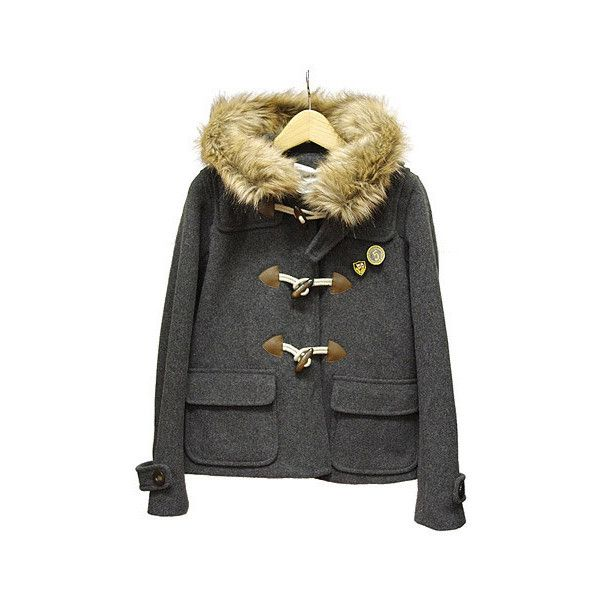 OLIVE des OLIVE 大きめフードが可愛い、ショート丈のダッフルコート ❤ liked on Polyvore featuring outerwear, coats, jackets, tops and olive des olive