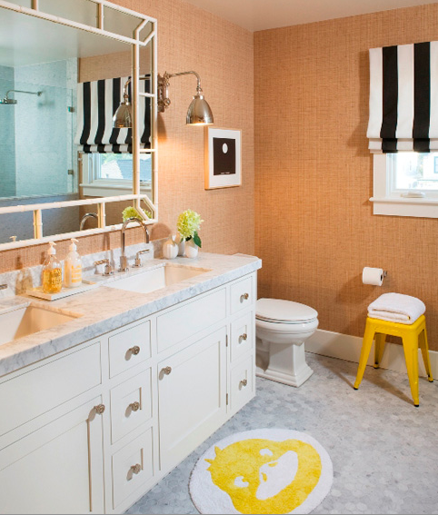 Sweet Kids Bathroom With Sand Beige Grasscloth Wallpaper White Black Striped Roman Shade Marble Contemporary Bathroom Double Vanity Bathroom Window Decor