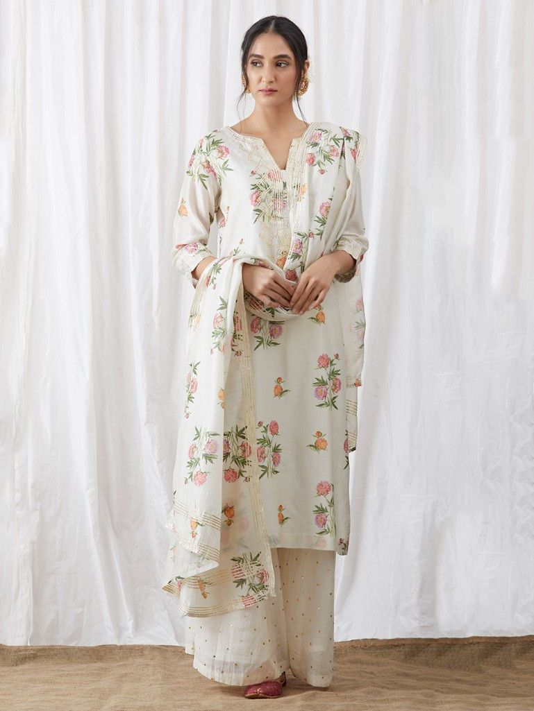 36d59c545c8 White Floral Printed Chanderi Suit - Set of 3 | The Loom Ethnic Wear ...