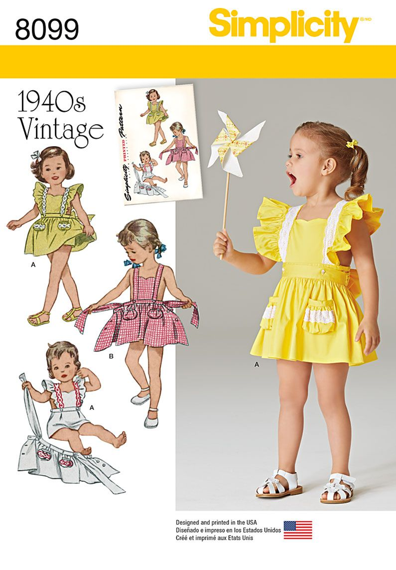 Simplicity 8099 Toddlers\' Romper and Button-on skirt | Schnittmuster