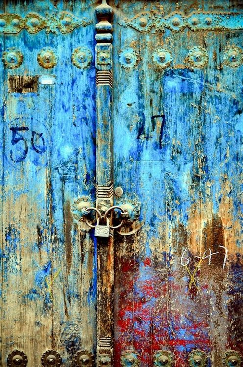 Old door and lock with beautiful patina