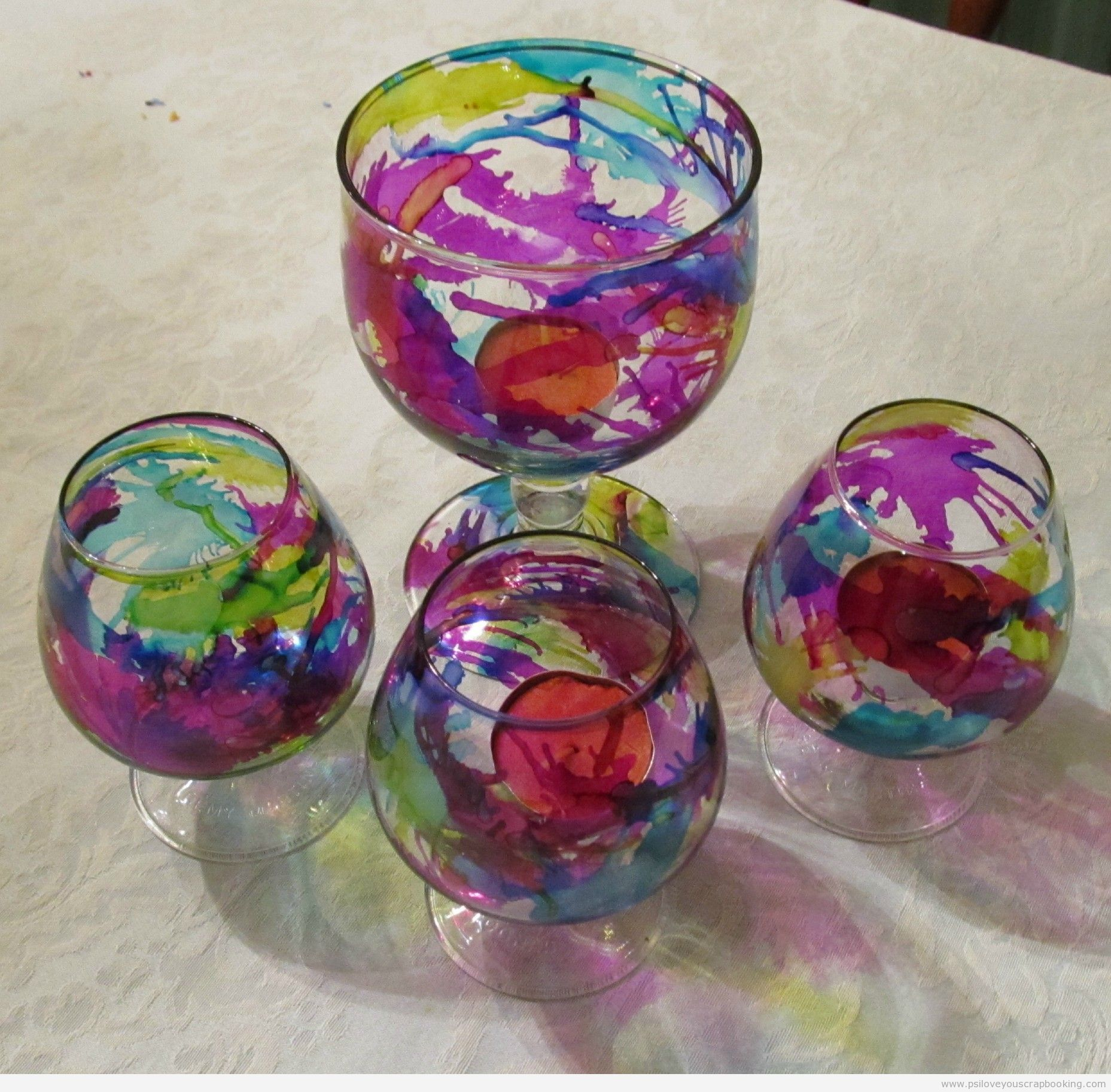 Using Alcohol Ink on Glass - PS I Love You #alcoholinkcrafts