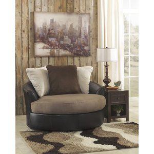 Benchcraft 1420121 Masoli Mocha Oversized Swivel Accent