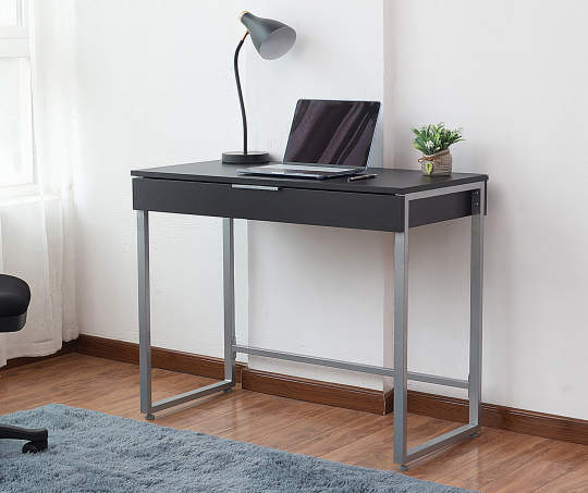 Just Home Black Silver 1 Drawer Desk Big Lots Desk With Drawers Desks For Small Spaces Grey Desk