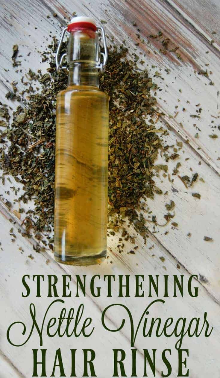 Strengthening Nettle Vinegar Hair Rinse Strengthening Nettle Vinegar Hair Rinse can help with hair loss, strengthen hair, help with dandruff, and increase a healthy hair shine. Nettle is the perfect herb for hair care!