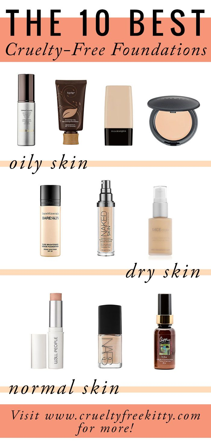 Best crueltyfree foundations for different skin types for Different foundations