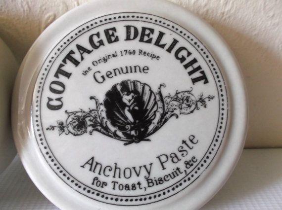 Vintage English Apothecary Porcelain Pot Cottage Delight Anchovy Paste Jar