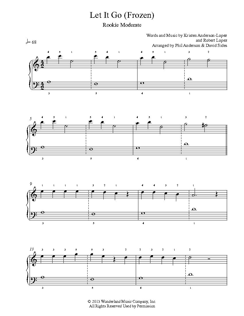 Let It Go by Frozen Piano Sheet Music | Rookie Level