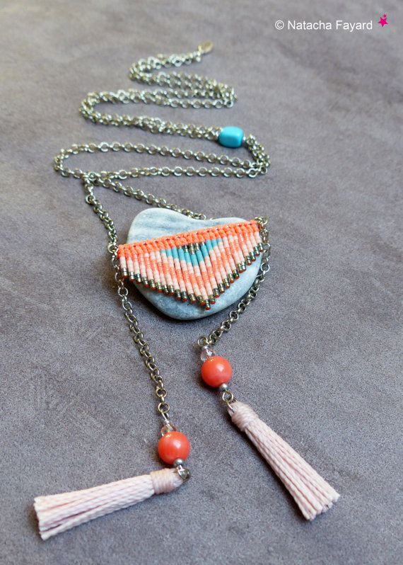 Pink Necklace Beaded Necklace Macrame Necklace in Pastels