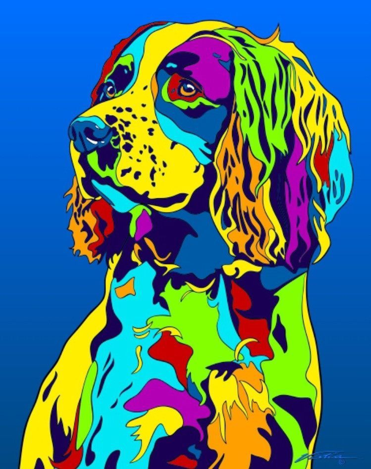 English Springer Spaniel Matted Prints Canvas Giclees Dog Paintings Matted Prints Animal Paintings