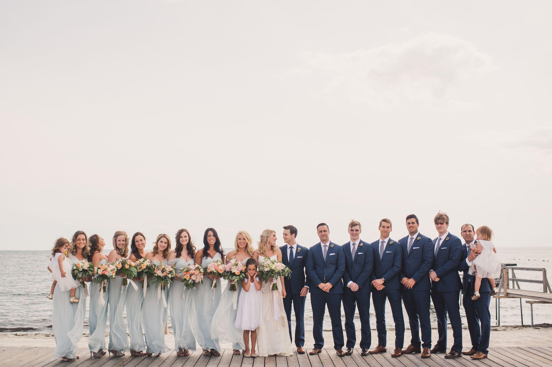 True Event, CT wedding, Niantic CT, New England wedding, Old Black Point, bridal party, bride and groom, bridesmaids, groomsmen, seafoam, blue, ocean, beach wedding