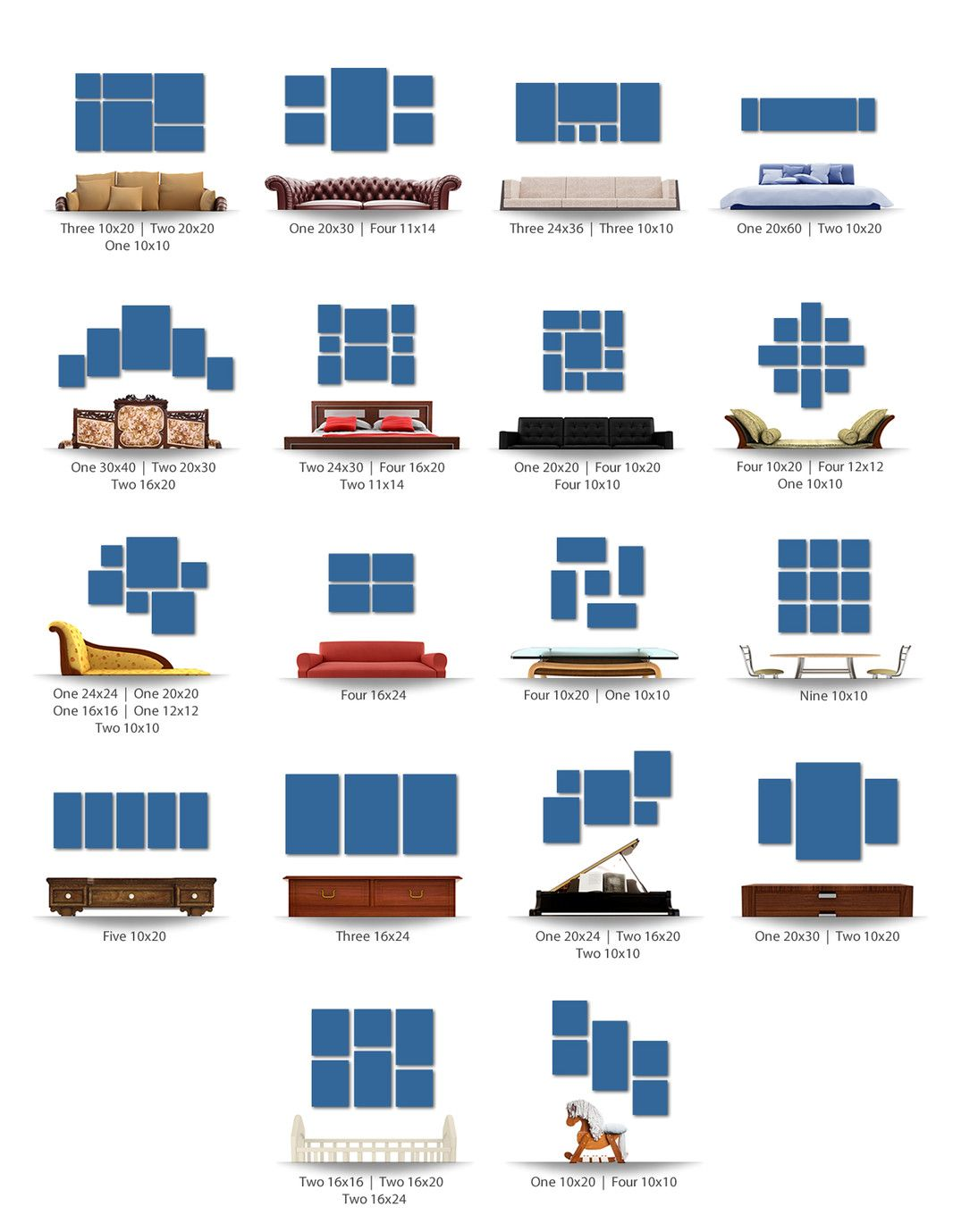 Great frame and canvas layouts with sizes. | Hacks | Pinterest ...