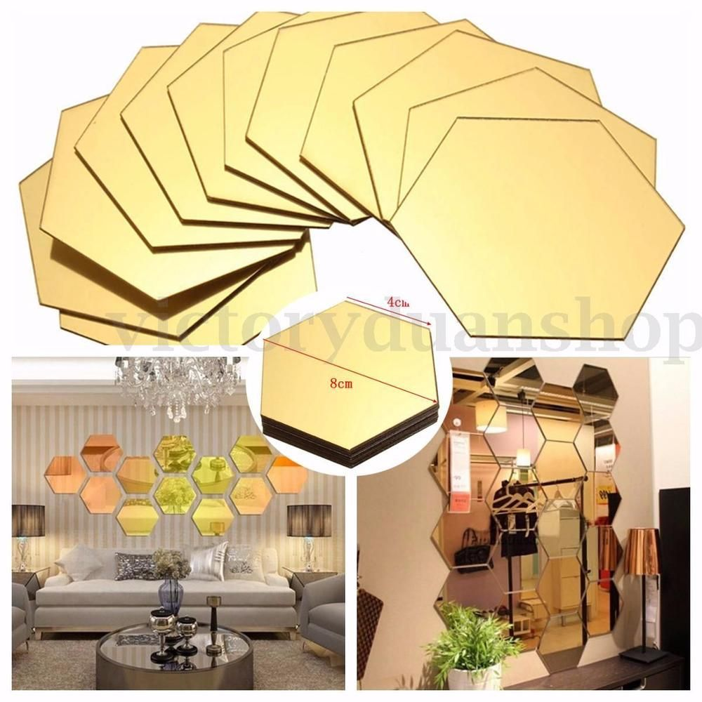 12pcs 3d Mirror Hexagon Vinyl Removable Wall Sticker Decal Home ...
