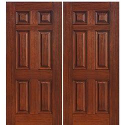 6 Panel 2. Walnut WoodDouble Entry DoorsWood GrainNatural WoodExterior ...
