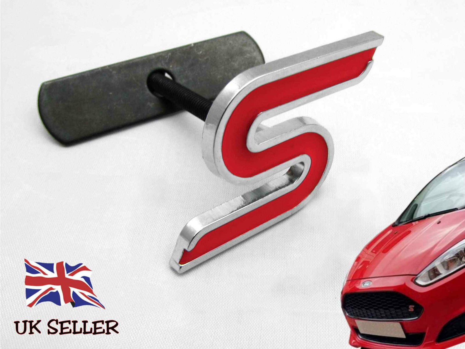 NEW BLACK ZETEC S GRILLE BADGE EMBLEM FOR FORD FIESTA FOCUS /& FITTING KIT