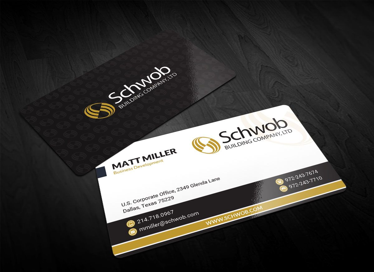 Bold Serious Construction Company Business Card Design For Schwob Building Company See Card Exampl Company Business Cards Card Design Construction Company