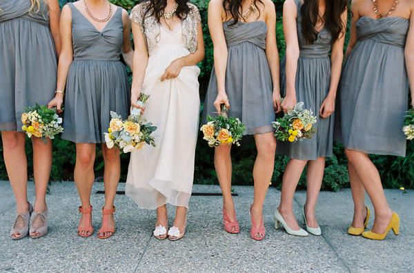Fun Smog Shoppe Wedding   Once Wed. Mix Match BridesmaidsGray ...