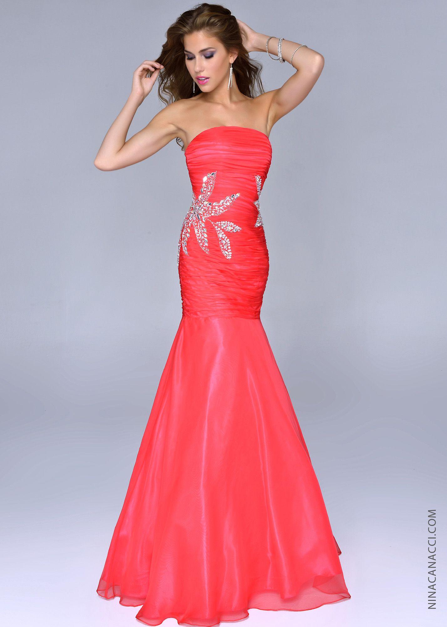 c8e2fef2044fd Nina Canacci 4019 -Watermelon Strapless Mermaid Prom Dresses Online  #thepromdresses