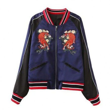 Chinese style tiger flower embroidered bomber jacket for girls long sleeve jacket coat