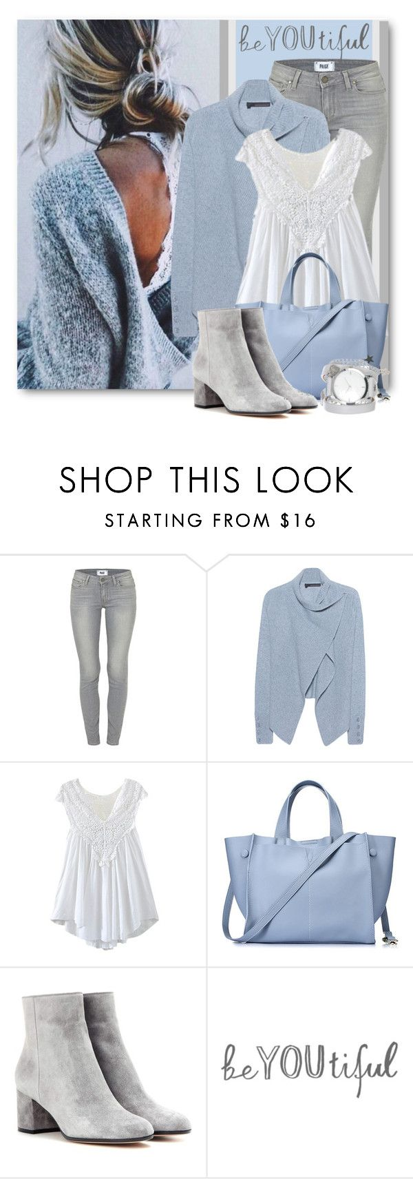 """""""Casual Cashmere & Lace"""" by brendariley-1 ❤ liked on Polyvore featuring Paige Denim, 360 Sweater, WithChic, Gianvito Rossi and ZALORA"""