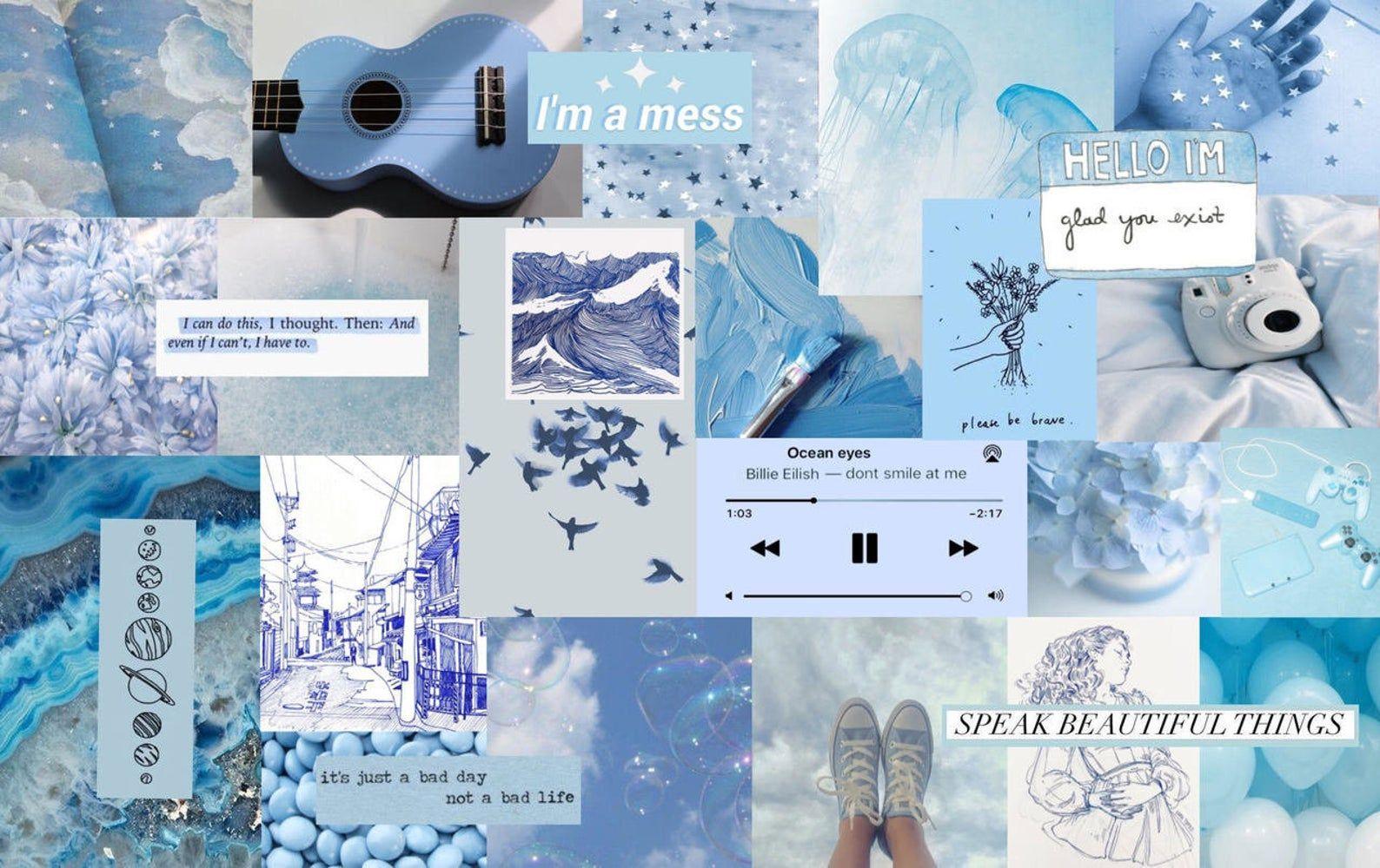 Light Blue Collage Laptop Wallpaper Cute Desktop Wallpaper Aesthetic Desktop Wallpaper Computer Wallpaper Desktop Wallpapers