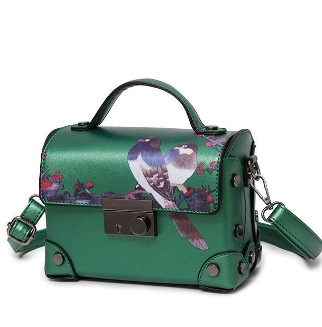 Green Leather Bird Print Mini Satchel | Women's Handbags and Purses | Quirky Purses #animalprint #bird #crossbody #satchel #bags #leather #handbags #quirkypurse
